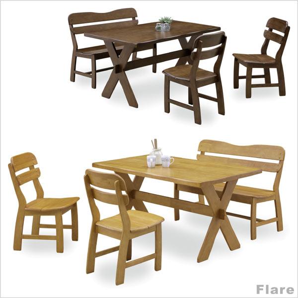 ダイニングテーブルセット 4人掛け 無垢材 ダイニングセット 4点セット テーブル幅135cm 135テーブル ベンチ 選べる2色 食卓テーブルセット 北欧 ナチュラル カントリー シンプル 木製 ラバーウッド 長方形 通販 送料無料