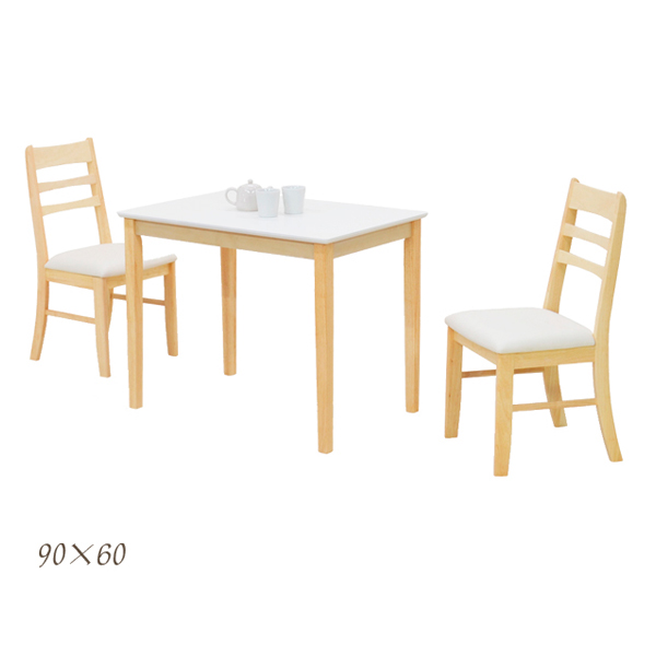 無垢材 ダイニングテーブルセット 2人掛け ダイニングセット 3点セット ホワイト 白 テーブル幅90cm 90幅 座面 合皮 PVC 省スペース コンパクト ラバーウッド シンプル 食卓テーブルセット 木製 長方形 通販 送料無料