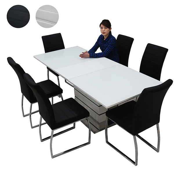 ダイニングセット 鏡面 7点 伸長式 6人 ガラステーブル 幅160~200cm ホワイト ブラック 選べる2色 奥行き85cm 高さ75cm ダイニングテーブルセット ガラス ホワイト 白 エクステンション 光沢あり ツヤあり 艶有り 北欧 モダン 長方形 送料無料
