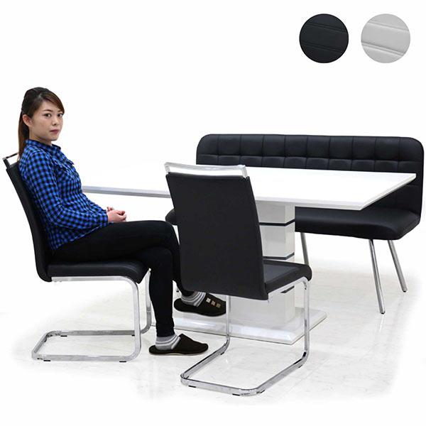 ダイニングセット 鏡面 ダイニングテーブルセット 4点 4人用 ホワイト ブラック 選べる2色 テーブル 幅160cm 160×85 ベンチ 白 黒 モノトーン 合皮 インテリア デザイナーズ風 オシャレ モダン 長方形 オリジナル商品 送料無料