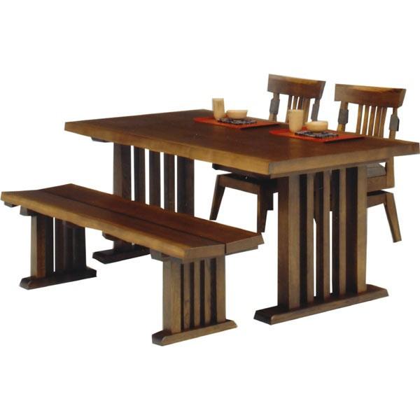 ダイニングセット ダイニングテーブルセット 4点セット 4人掛け ベンチ 回転チェア 回転椅子 和風 シンプル モダン 木製 送料無料