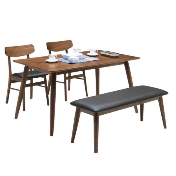 ダイニングセット ダイニングテーブルセット 4点セット 4人掛け 幅135cm 135cm 135テーブル ベンチ付き ウォールナット無垢材 無垢材 座面PVC ブラウン 北欧 シンプル モダン おしゃれ 食卓セット ダイニング リビング 木製 送料無料