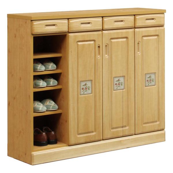 下駄箱 シューズボックス 靴箱 ロータイプ 玄関収納 スリッパラック 幅120cm 木製 完成品 送料無料