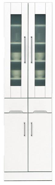 鏡面 食器棚 キッチンボード 50幅 高さ180cm ダイニングボード キッチン 収納 完成品 ホワイト 白 ハイタイプ 50 奥行45cm 移動棚 棚調節 壁面収納 大川家具 日本製 シンプル 北欧 木製 通販 送料無料