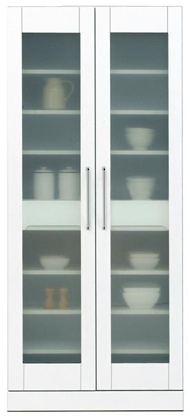 鏡面 食器棚 キッチンボード 80幅 ハイタイプ 高さ180cm ダイニングボード すき間収納 キッチン 収納 完成品 ホワイト 白 80 奥行45cm 移動棚 棚調節 壁面収納 大川家具 日本製 シンプル 北欧 木製 送料無料