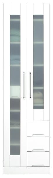 鏡面 食器棚 キッチンボード 50幅 高さ180cm ダイニングボード キッチン 収納 完成品 ホワイト 白 ハイタイプ 50 奥行45cm 移動棚 棚調節 壁面収納 大川家具 日本製 シンプル 北欧 木製 送料無料