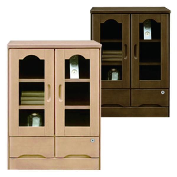 鍵付き キャビネット サイドボード 幅60cm 完成品 ナチュラル ブラウン 選べる2色 両開きタイプ 高さ80cm 引出し 収納 リビング収納 タモ材 木製 シンプル 送料無料