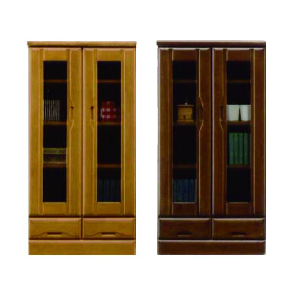 キャビネット サイドボード 幅60cm 無垢材 高さ120cm 国産 日本製 ナチュラル ブラウン 選べる2色 木製 ラバーウッド材 引出し付き カットガラス ネジダボ リビング収納 シンプル 送料無料