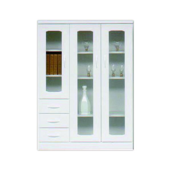 鏡面 幅90cm サイドボード キャビネット 高さ122cm 国産 ホワイト 日本製 開き戸 引き出し 白 光沢 艶あり 木製 リビング収納 ガラス シンプル 壁面収納 送料無料