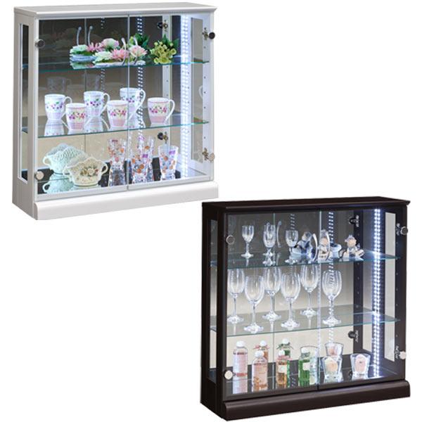 コレクションボード ディスプレイラック キュリオケース ガラスケース 幅80cm ホワイト ブラウン 選べる2色 高さ80cm ロータイプ リビング収納 LEDライト付き 完成品 送料無料