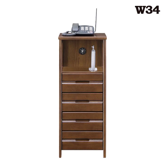 電話台 ファックス台 幅35cm 完成品 ルーター収納 モデム収納 wifi サイドボード キャビネット ラック 奥行33cm 高さ85cm ブラウン 脚付き リビング収納 シンプル 木製 ラバーウッド材 無垢 天然木 送料無料