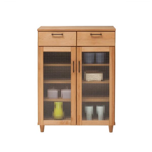 キャビネット リビングボード リビング収納 飾り棚 幅80cm 木製 完成品 アルダー材 送料無料