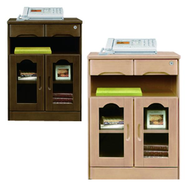 鍵付き ファックス台 電話台 幅60cm 完成品 ナチュラル ブラウン 選べる2色 両開きタイプ 高さ80cm 引出し 収納 リビング収納 タモ材 木製 シンプル 送料無料