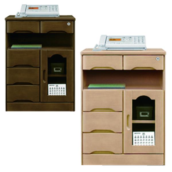 鍵付き ファックス台 電話台 幅60cm 完成品 ナチュラル ブラウン 選べる2色 片開きタイプ 高さ80cm 引出し 収納 リビング収納 タモ材 木製 シンプル 送料無料