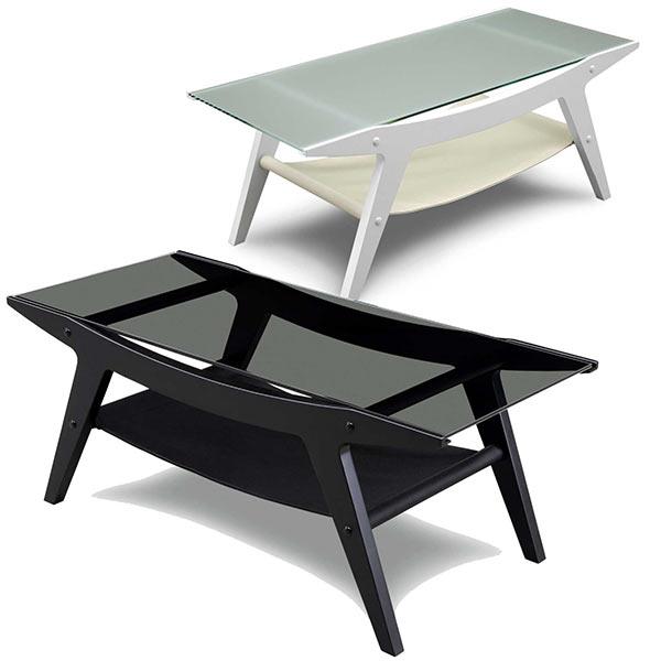 ガラステーブル 幅100cm ブラック ホワイト 選べる2色 おしゃれ 棚付き センターテーブル リビングテーブル ローテーブル 強化ガラス 黒 白 モノトーン インテリア 木製 ラバーウッド材 一人暮らし モダン 100×45 家具通販 通販 送料無料