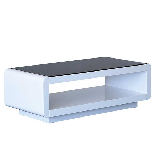 モノトーン ガラステーブル 収納スペース付き 幅105cm 長方形 ブラックガラス ホワイト 白 黒 センターテーブル ローテーブル ガラス リビングテーブル 105×50 リビング 省スペース コンパクト 一人暮らし おしゃれ スタイリッシュ モダン 送料無料