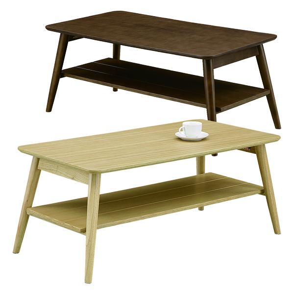 テーブル 棚付き センターテーブル リビングテーブル 幅105cm 折りたたみ 折れ脚 ナチュラル ブラウン 選べる2色 収納 棚 奥行55cm 高さ45cm 天然杢 天然木 オーク材 ラバーウッド材 木製 省スペース 北欧 シンプル 送料無料