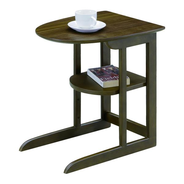 ナイトテーブル サイドテーブル 棚付き 幅37cm 高さ50cm ミニ テーブル コンパクト 半円 コの字 ブラウン 完成品 ソファサイドテーブル 37×45 省スペース 天然木 ウォールナット材 ラバーウッド材 モダン カジュアル 北欧 おしゃれ 木製 送料無料