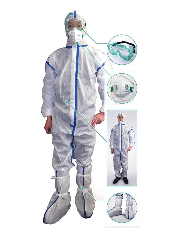 【送料無料】高ウイルスバリア感染症対策防護服 4点セット×25セット(救急隊/防護服/保護服/消防/操法/消防団 )SH