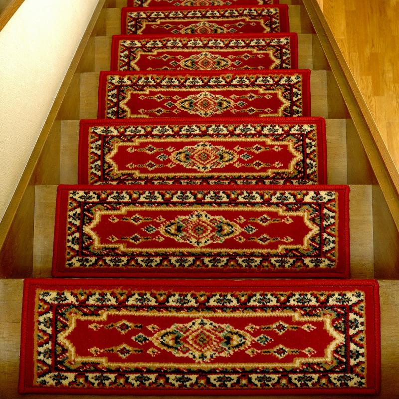 ペルシャン柄 階段マット 13枚組 レッド
