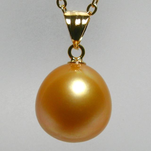 [ネックレス] [12-15.4mm] [天然色] [ゴールド] [希少] [白蝶真珠] 真珠 ネックレス