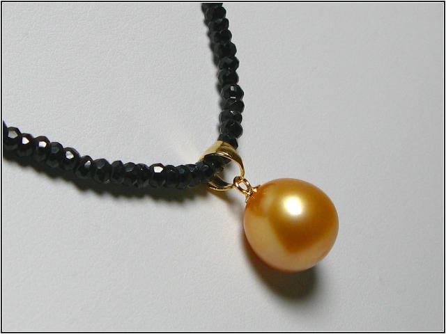 白珍珠黃金色吊墜項鍊 (gp4043)