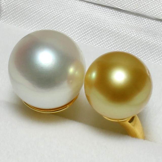 南洋真珠リング(ホワイト ~ ゴールド系/12.3mm・10.5mm・セミラウンド形)(sr7215)