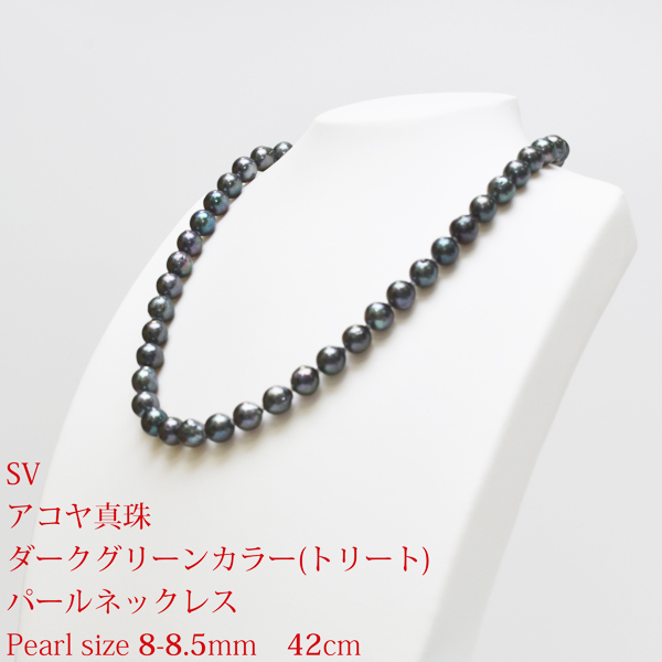 【NewYearSALE】【50%OFF】SV アコヤ真珠 ダークグリーンカラー(トリート) ネックレス P 約8-8.5mm 約42cm