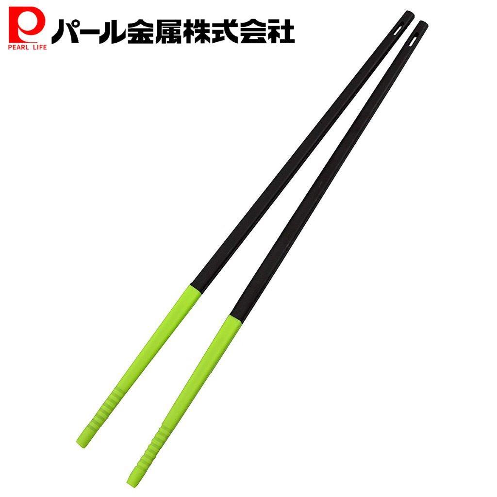 熱に強く柔らかいシリコン製 菜箸 箸 シリコーン チョップ スティック ブラック×グリーン ベジライブ CC-1090 パール金属