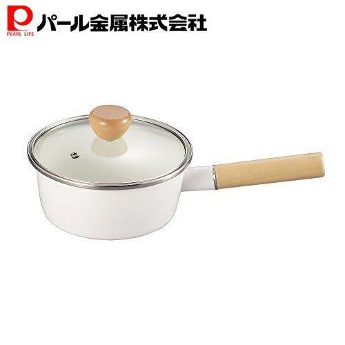 ホーロー製の片手鍋 蓋付き 限定価格セール アミィ ホーロー ガラス蓋 HB-801 パール金属 片手鍋 ホワイト 16cm 直送商品