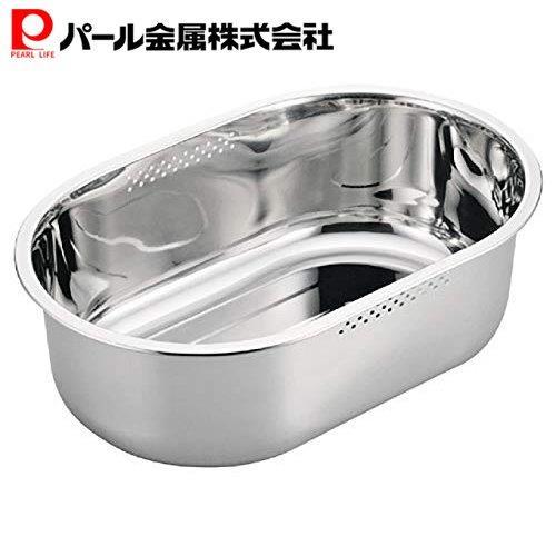 パール金属 スリム小判型洗桶34×23cm ステンレス製 シルバー ※ラッピング ※ 超美品再入荷品質至上 HB-4147 アットアクア