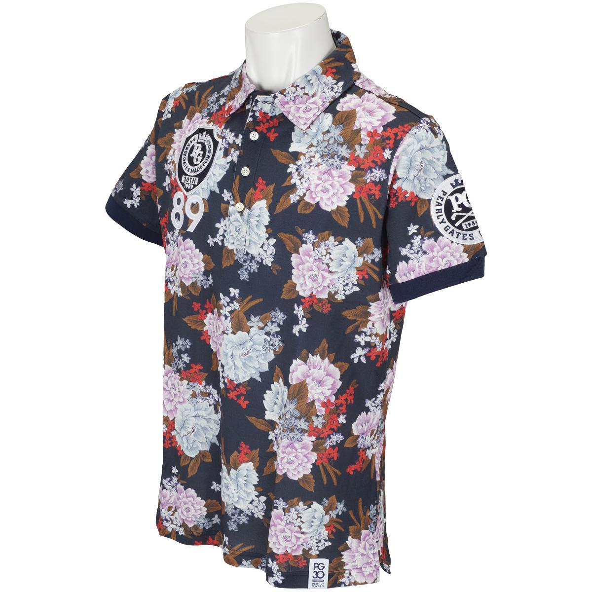 パーリーゲイツ PEARLY GATES 鹿の子 LIBERTY 総花柄 半袖ポロシャツ