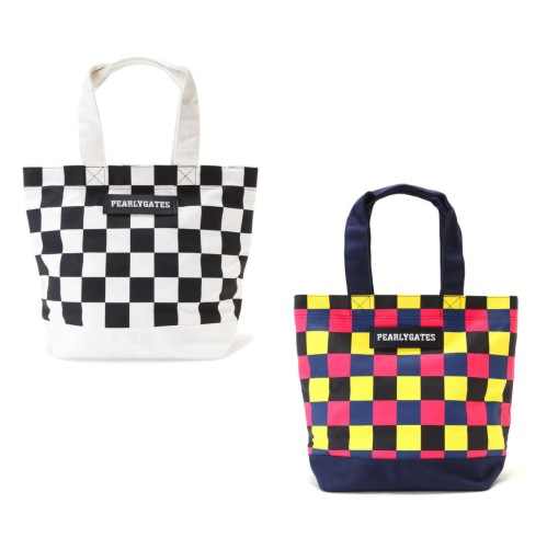 【NEW】PEARLY GATES パーリーゲイツCHECKERED PATTERN 帆布調BIGトートバッグ シューズIN! 9181201/19AF