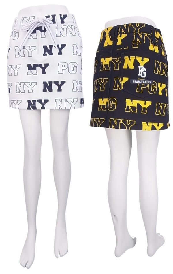 【NEW】PEARLY GATES パーリーゲイツレディース ダンボールニット PGNYロゴミニスカート=JAPAN MADE= 8234810/18C