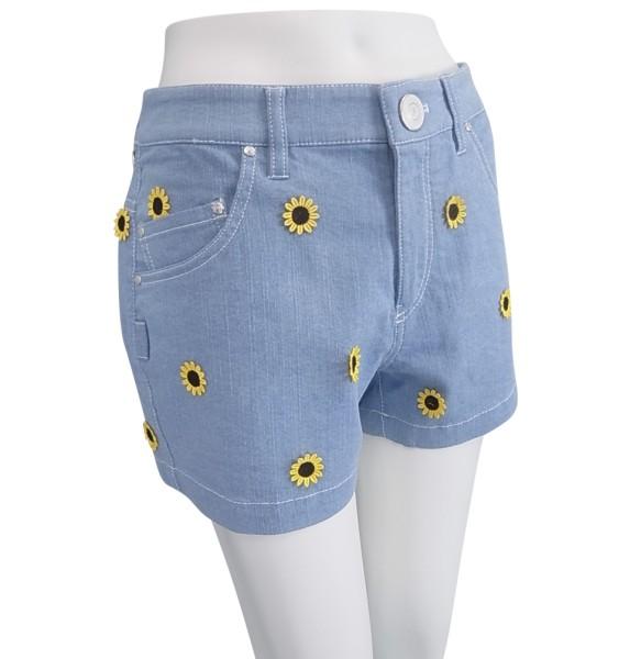 【PREMIUM SALE】Pearly Gates sunflower Smilyパーリーゲイツひまわり刺繍ライトデニムレディースストレッチショートパンツ9132522/19B【HIMAWARI】