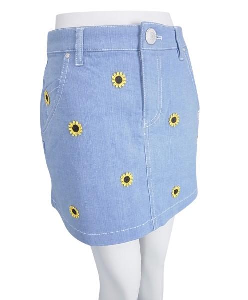 【PREMIUM SALE】Pearly Gates sunflower Smilyパーリーゲイツひまわり刺繍ライトデニムレディースストレッチミニスカート9134522/19B【HIMAWARI】