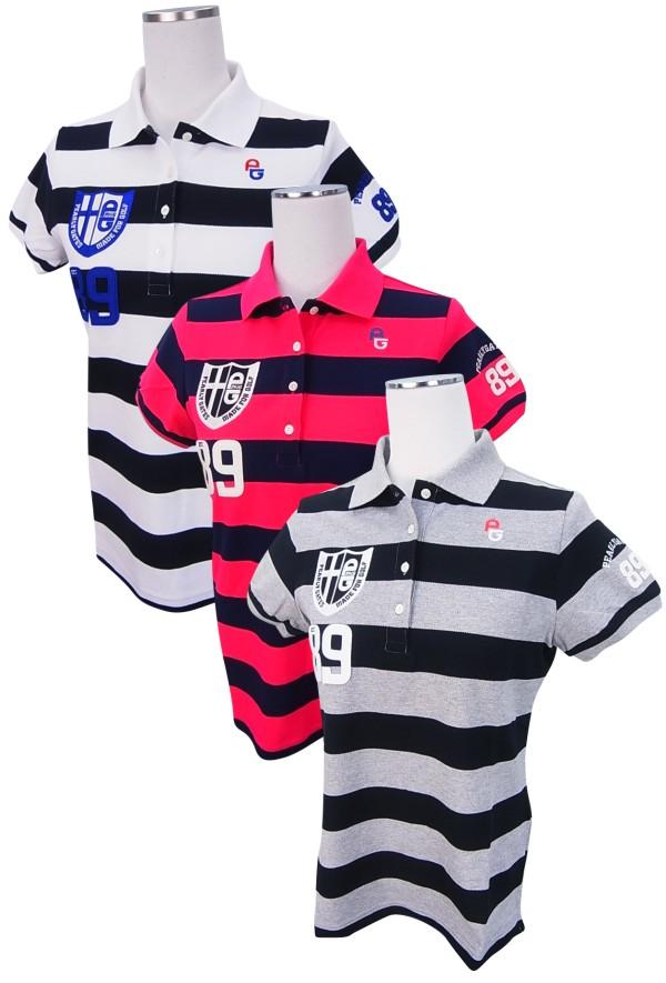【SALE】 エンブレムボーダーポロシャツ=JAPAN PEARLY GATES パーリーゲイツティーUP! レディース MADE= 7260804/17C