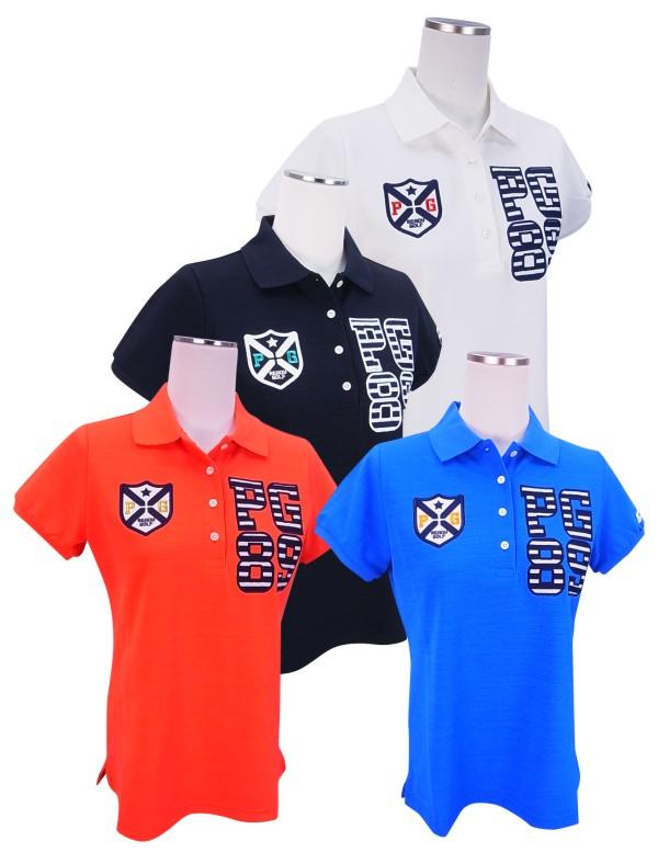 【SALE】PEARLY GATES パーリーゲイツレディース BIG PGボーダーロゴ DRY-Xカノコ半袖ポロシャツ =JAPAN MADE= 8160506/18B