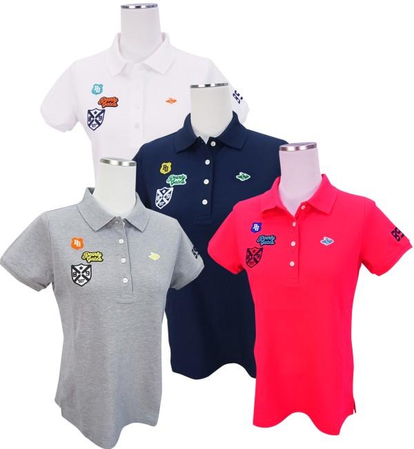 【SALE】PEARLY GATES パーリーゲイツレディース フライングラビット×デコワッペンファインクールタックカノコ半袖ポロシャツ=JAPAN MADE= 8160508/18B