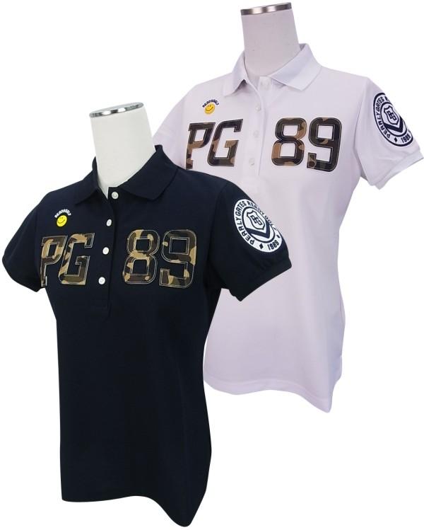 【NEW】PEARLY GATES パーリーゲイツレディース FIELDSENSOR・Primeflex スマイリーPG89カモフラロゴストレッチ半袖ポロシャツ=JAPAN MADE= 8260708/18B