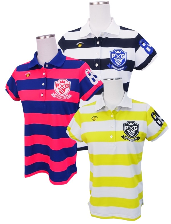 【NEW】PEARLY GATES パーリーゲイツレディース FINE COOL! スマイリー×エンブレムボーダーカノコ半袖ポロシャツ =JAPAN MADE=8260704/18C