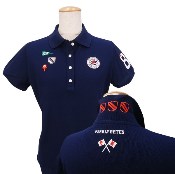 【PREMIUM CHICE】PEARLY GATES PG FLAG EMBLEMパーリーゲイツ吸汗速乾UVケアレディース半袖ポロシャツ =JAPAN MADE=9160268/19A【PXG】