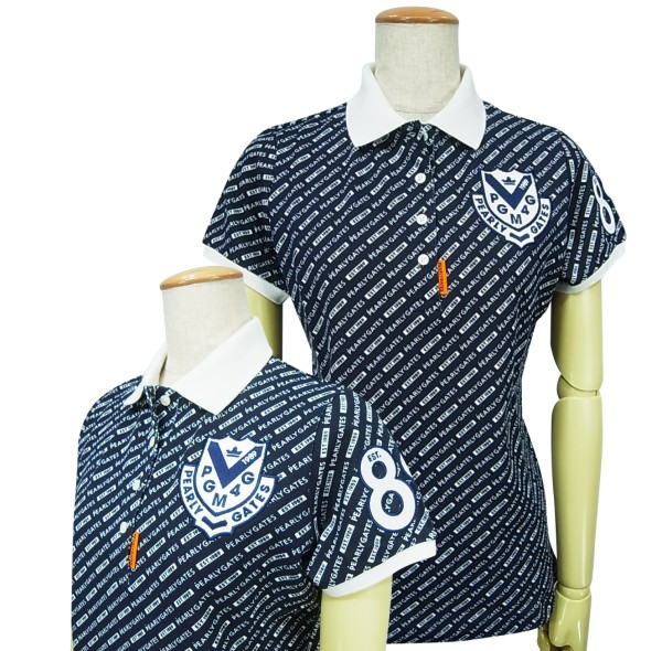 【NEW】PEARLY GATES パーリーゲイツロゴグラフィック レディース カノコ半袖ポロシャツ =JAPAN MADE=055-0160208/20AF