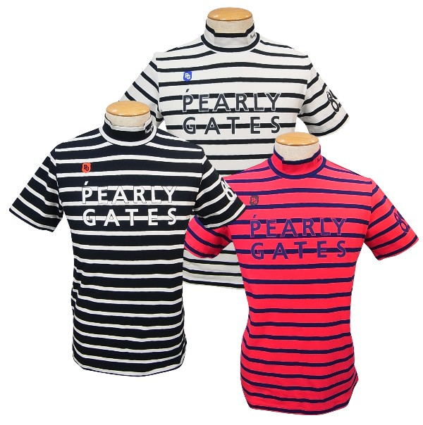 【NEW】PEARLY GATES パーリーゲイツCOOLMAX ベア天竺 2段ロゴ!メンズ 半袖ボーダー ハイネックモックシャツ=JAPAN MADE= 053-0167305/20A-B