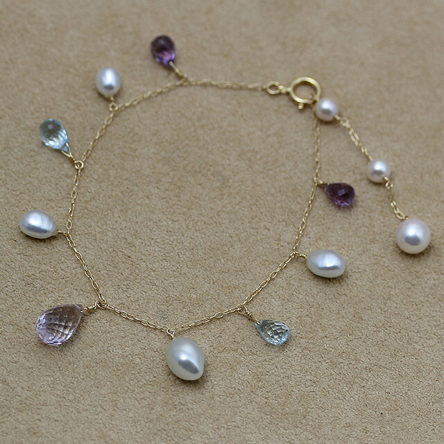 K18 gold white butterfly pearl poppy natural white blue pearl oyster pearl colored stone nature stone bracelet