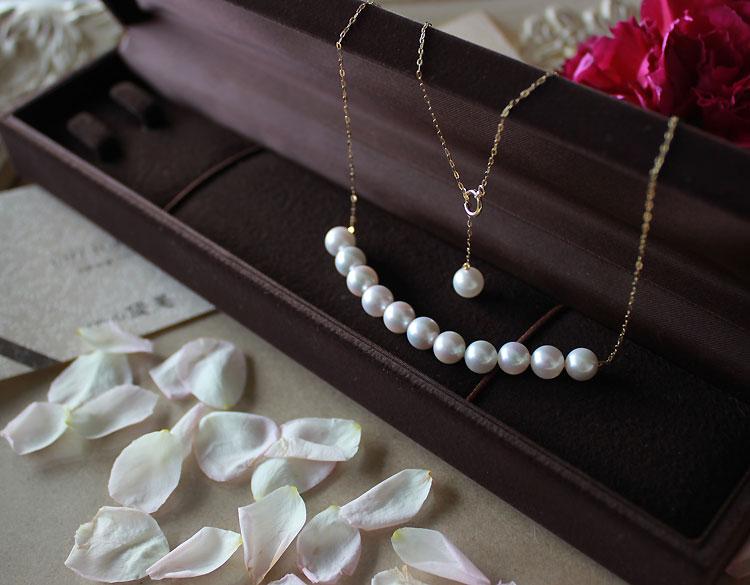真珠 akoya【真珠 ネックレス】あこや真珠 パール K18 ネックレス ベビーパール ステーションネックレス【パール ネックレス】pearl necklace レディース ジュエリー アクセサリー 海水真珠