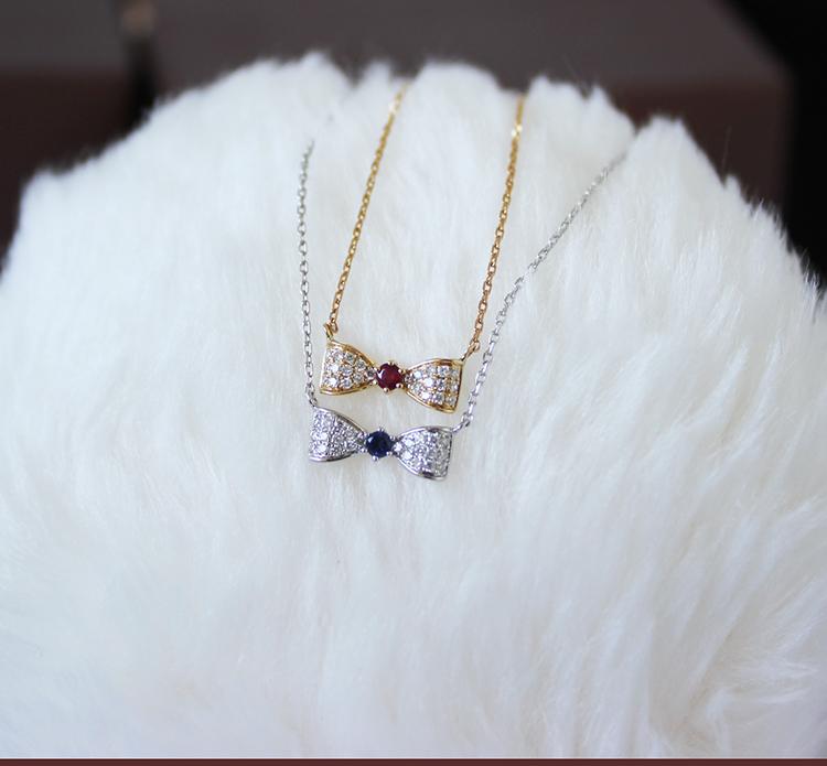 K18 or K18WG DIA RUBY or SAPPHIRE ネックレスリボン ダイア ルビー or サファイア necklace D0.08ct 24pcs R0.04ct 1pcs S0.04ct 1pcs