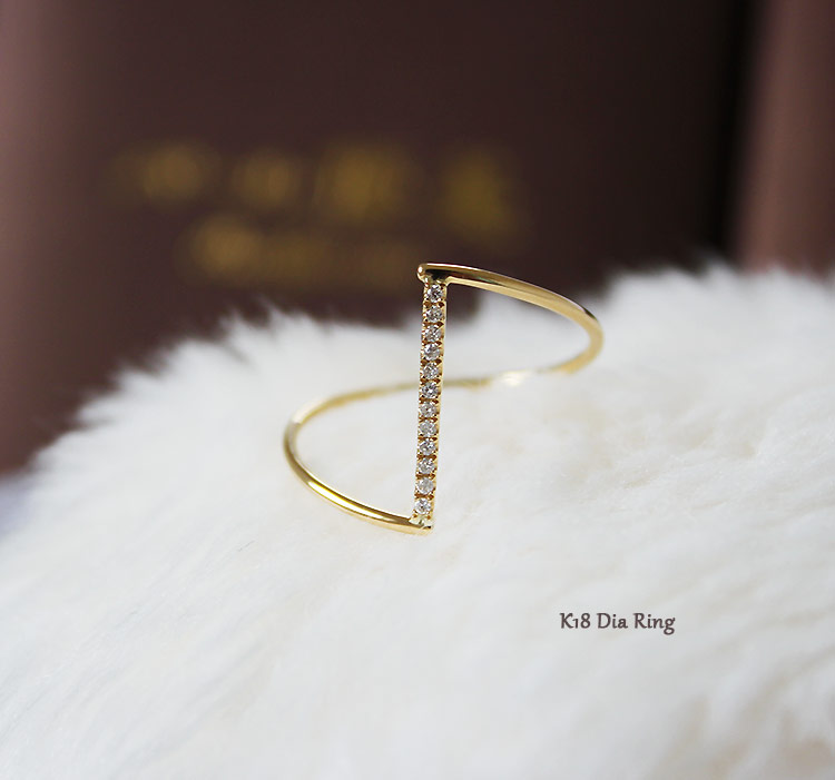 K18 or K18WG DIA リングななめ ダイア ring D0.05ct 12pcs
