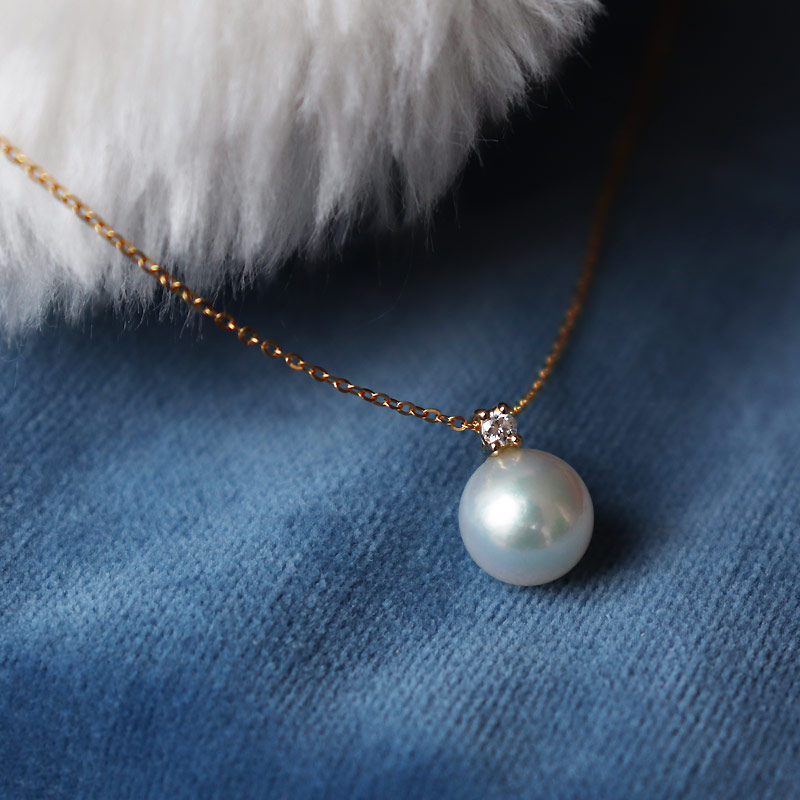 K18 あこや真珠 一粒 DIA ネックレスダイア akoya necklace D0.04ct 1pcs