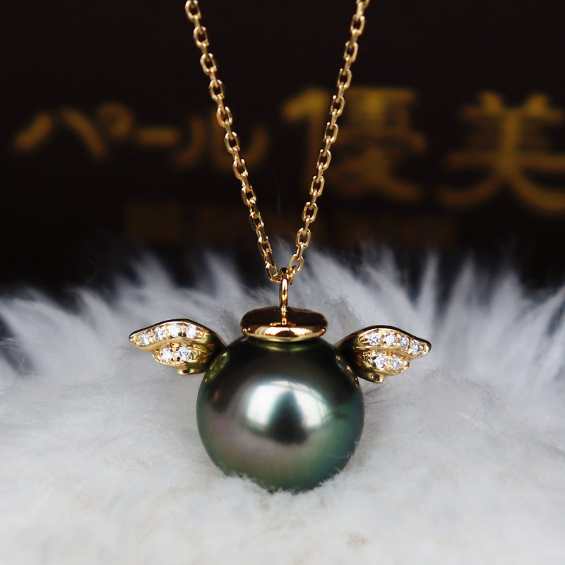K18 黒蝶真珠 9-10mm DIA ネックレス ダイア tahitian pearl necklace D0.028ct 12pcs